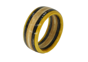 """The Wedge"" Board Ring - Black/Yellow/Tan Bands"