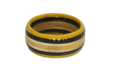 "Load image into Gallery viewer, ""The Wedge"" Board Ring - Black/Yellow/Tan Bands"