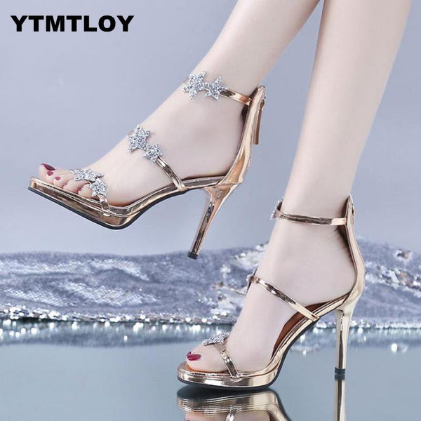 HOT New Fashion Women Pumps Crystal High Heel Pumps Shoes For Women Sexy Peep Toe High Heels Sandals Party Wedding Shoes Woman