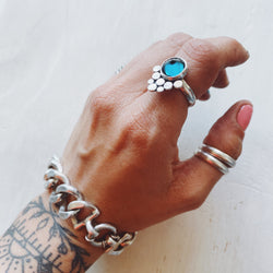 Anillo Romi Topacio London blue spike