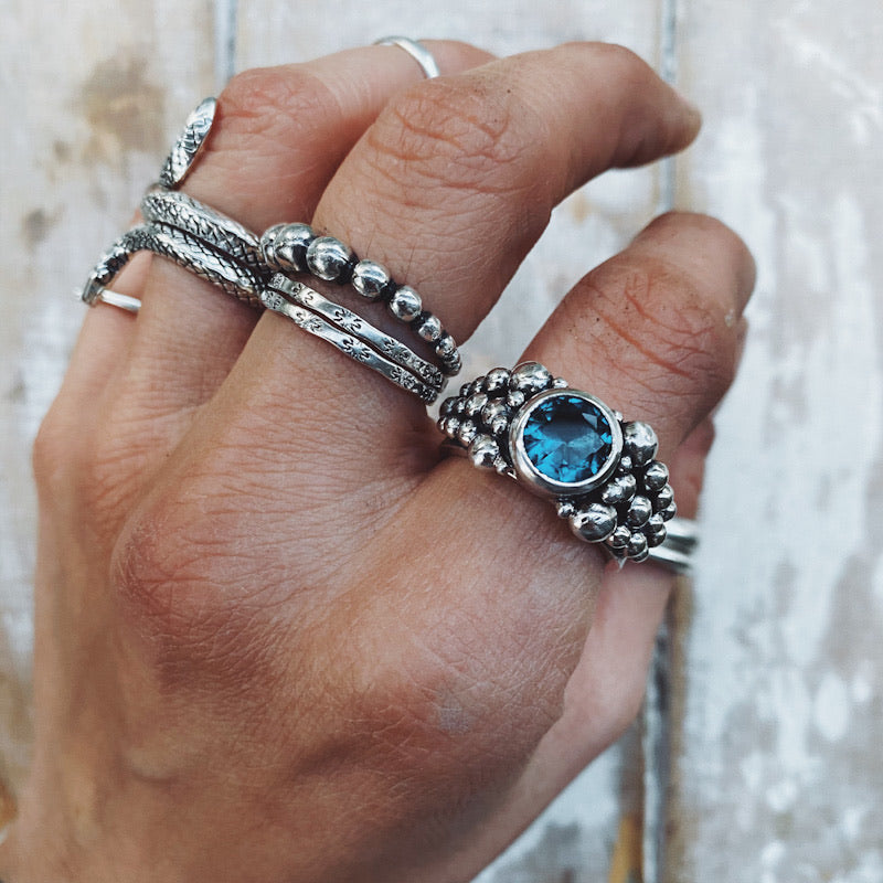 Anillo Empelotado Topacio London Blue