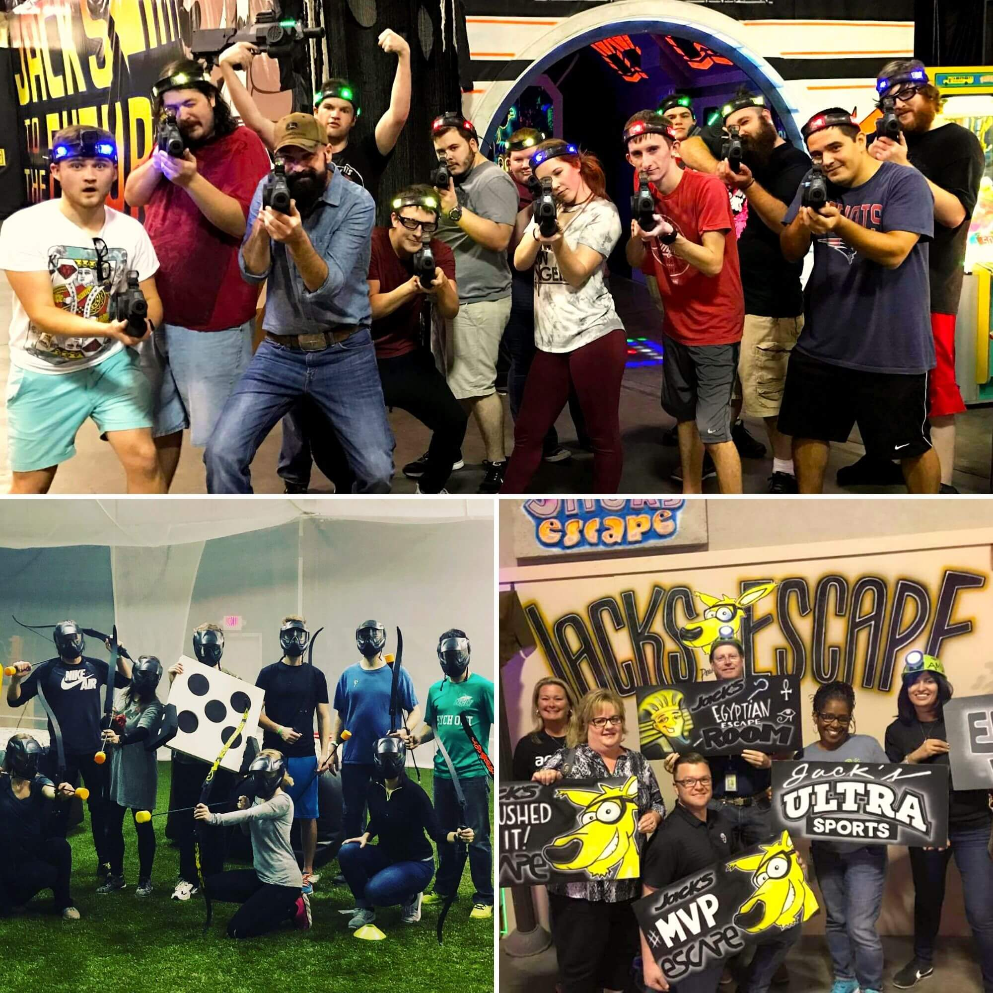 Laser Tag college group, archery warz group, escape room winners