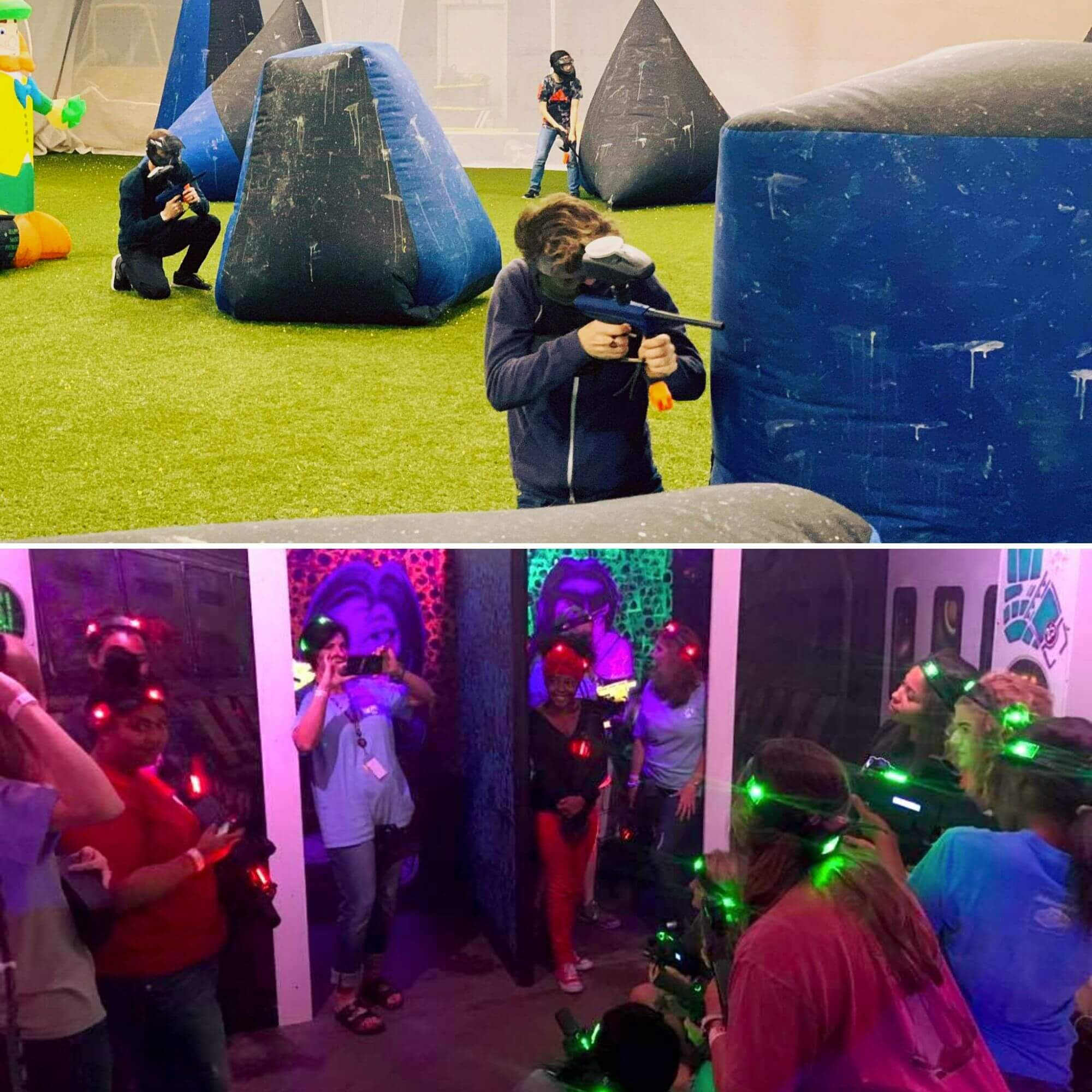 Indoor paintball and Laser Tag games