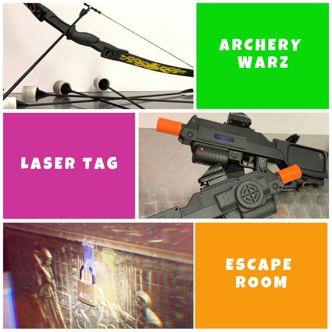 starter combo laser tag archery warz escape room