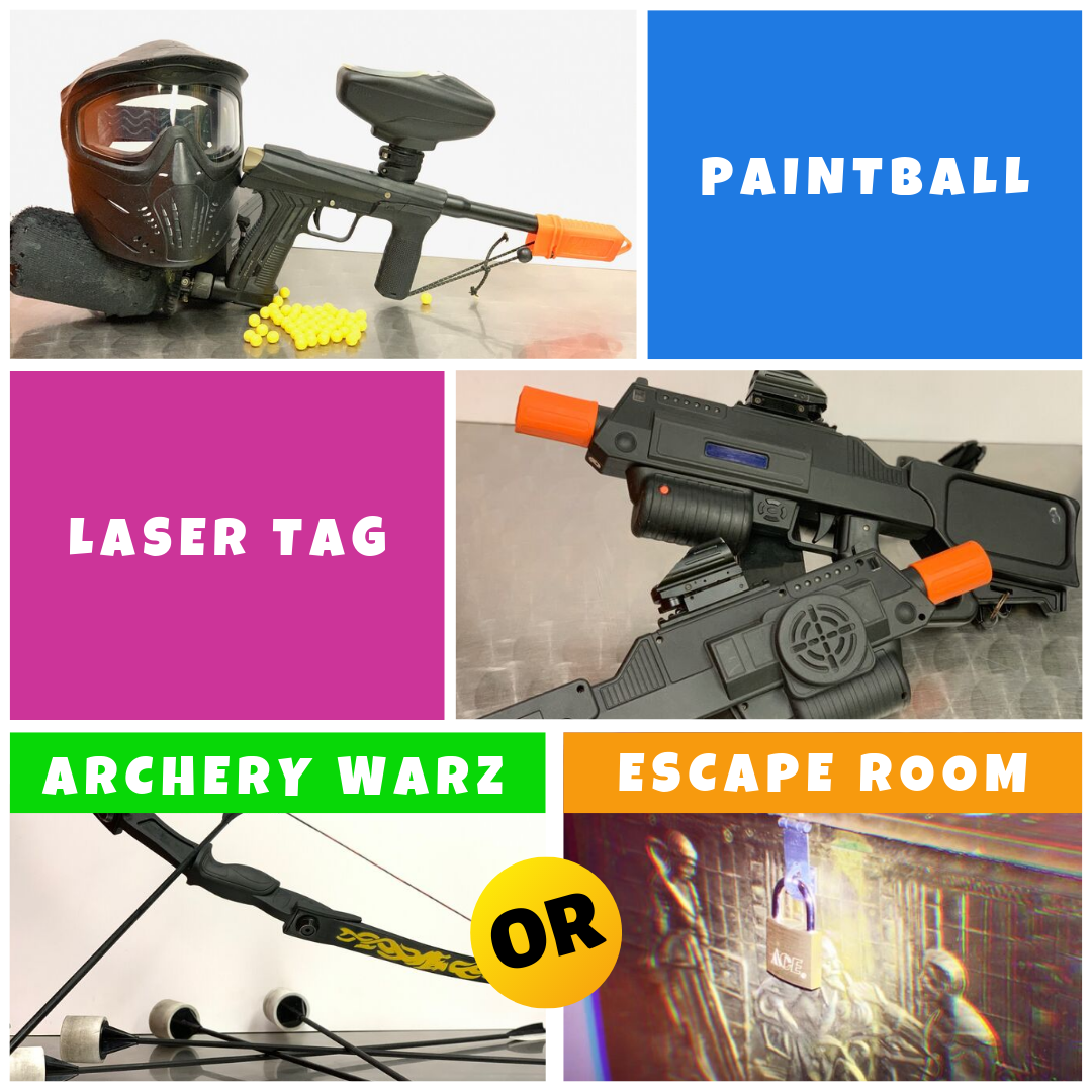 trifecta combo paintball laser tag archery warz escape room