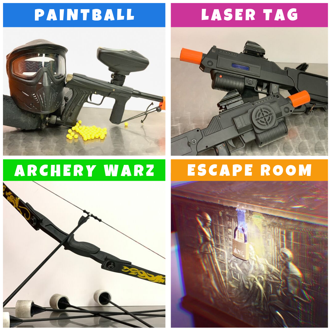 ultra combo paintball laser tag archery warz escape room