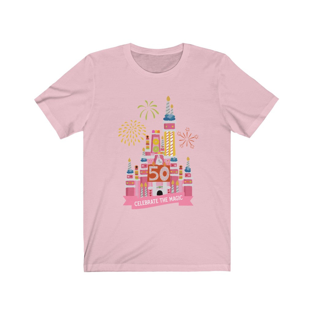 50th anniversary castle cake celebrate the magic Unisex Jersey Short Sleeve Tee