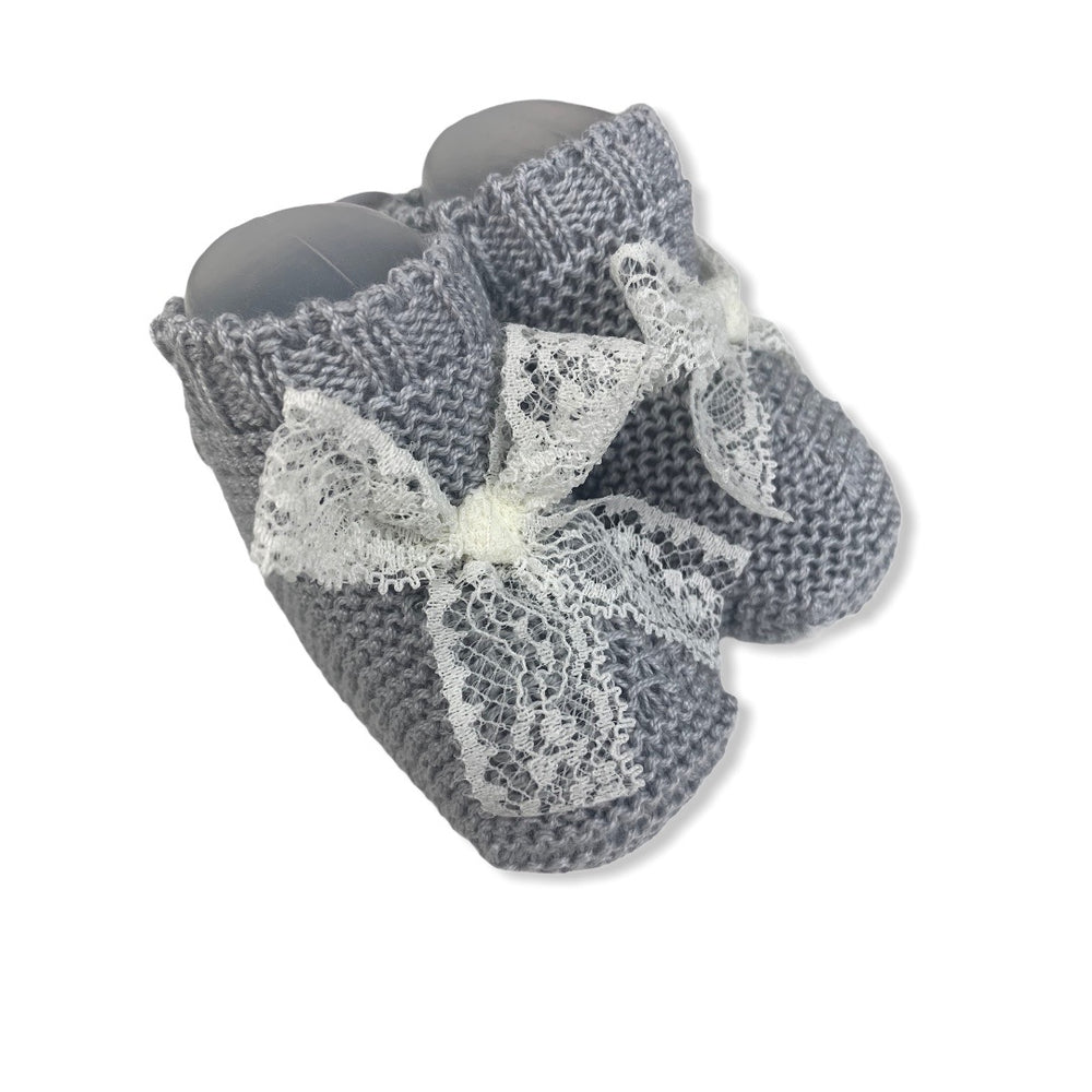 Strick-Booties 'Lace' in grau