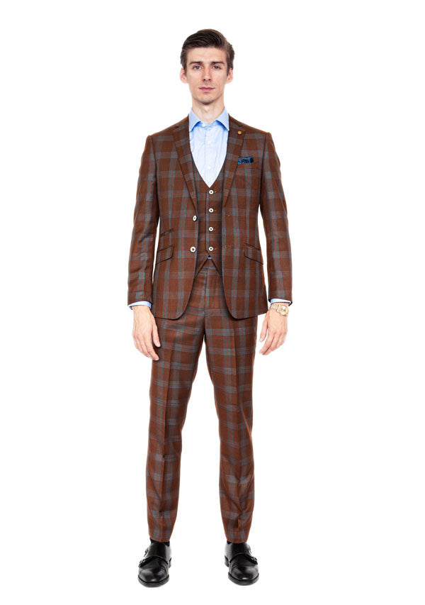 3 Piece Suit 5510 - Brown Check
