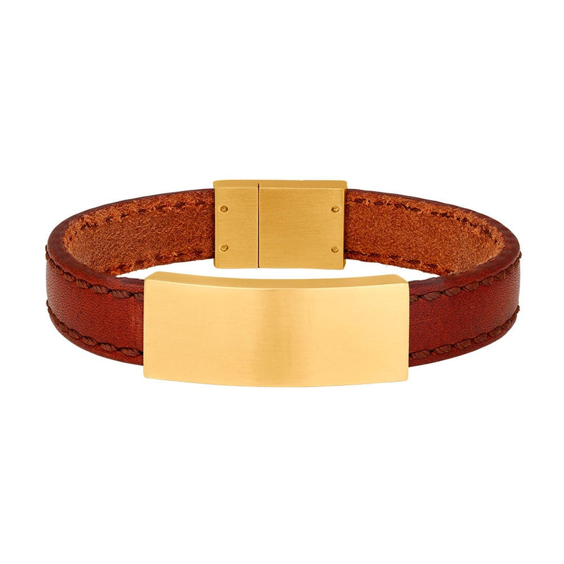 SON armbånd - Brown calf leather - Gold