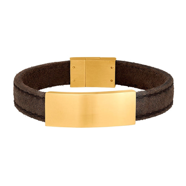 SON armbånd - Grey calf leather - Gold