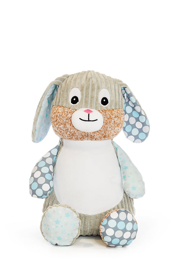 Harlequin-Bunny-Starry-Night bamse med navn og data