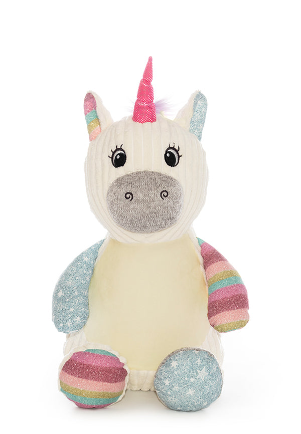 Rainbow-Frost-Unicorn bamse med navn og data