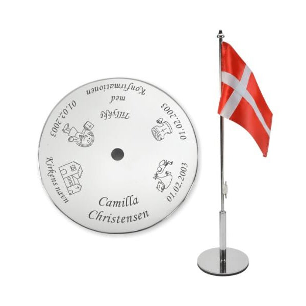 Konfirmationsflag med navn og data