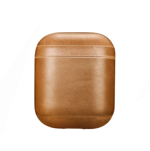 coque airpods cuir marron caramel