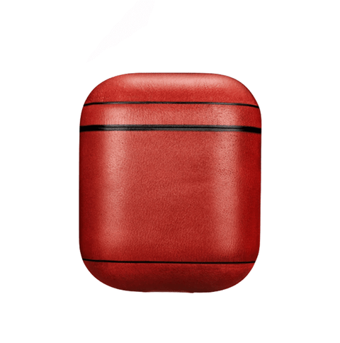 coque airpods cuir rouge
