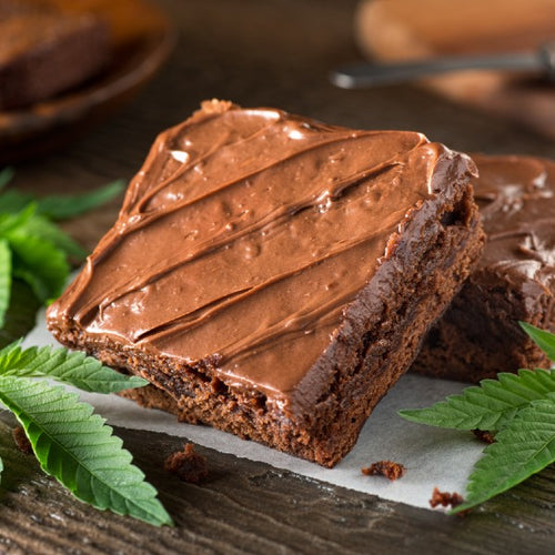 Image of a CBD infused brownies with cannabis leafs for decoration