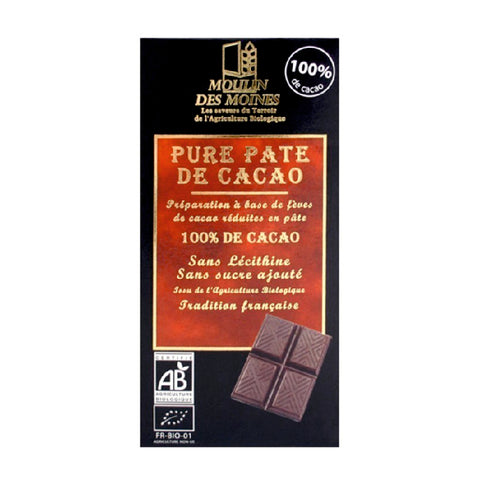 CHOCOLATE 100% DE CACAO MOULIN DES MOINES 100 GR