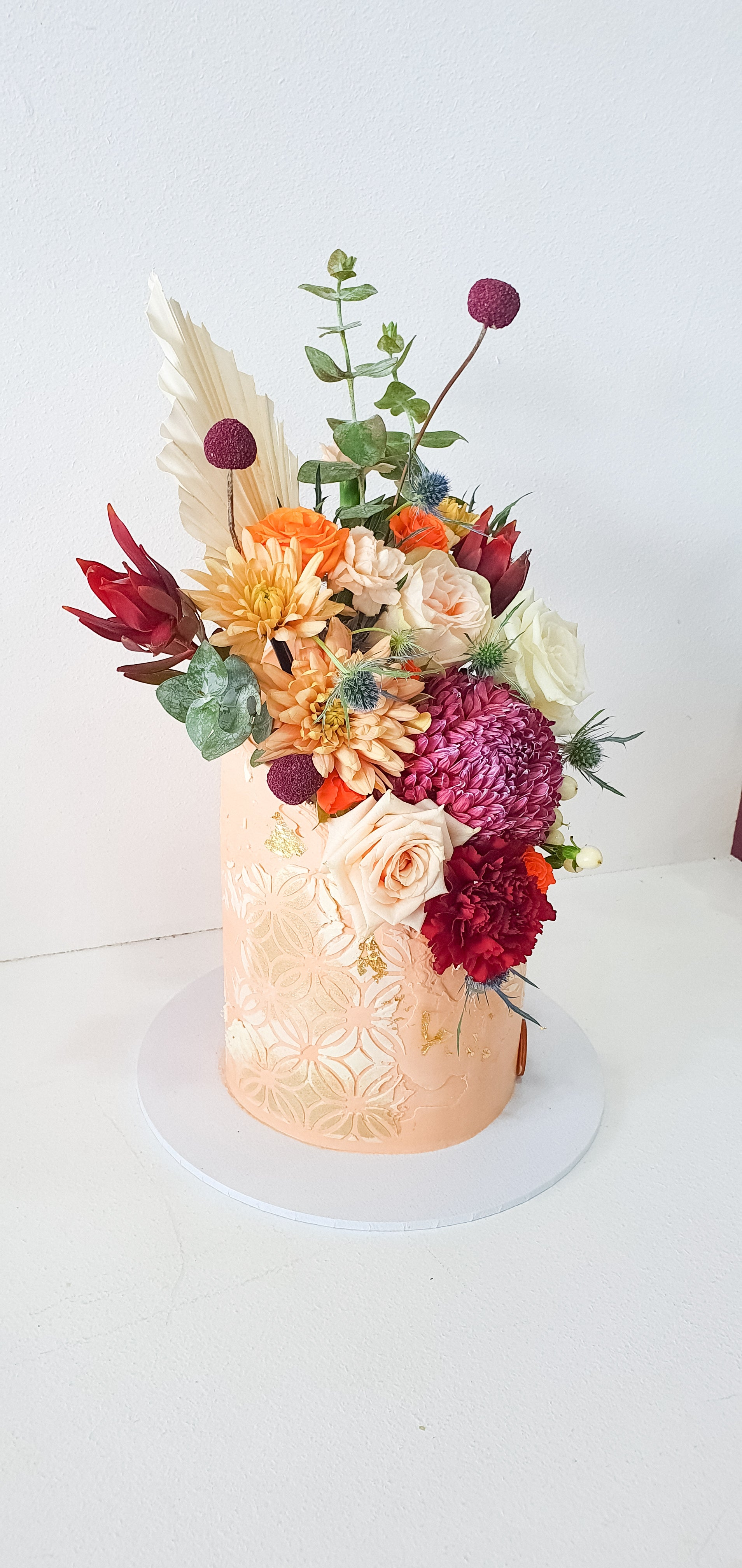 Floral Stencilled Rustic Cake (7 days Required)