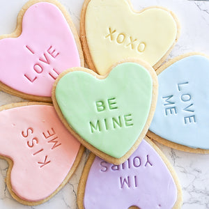 Heart Message Sugar Cookies - 6 pack (3 day minimum notice)