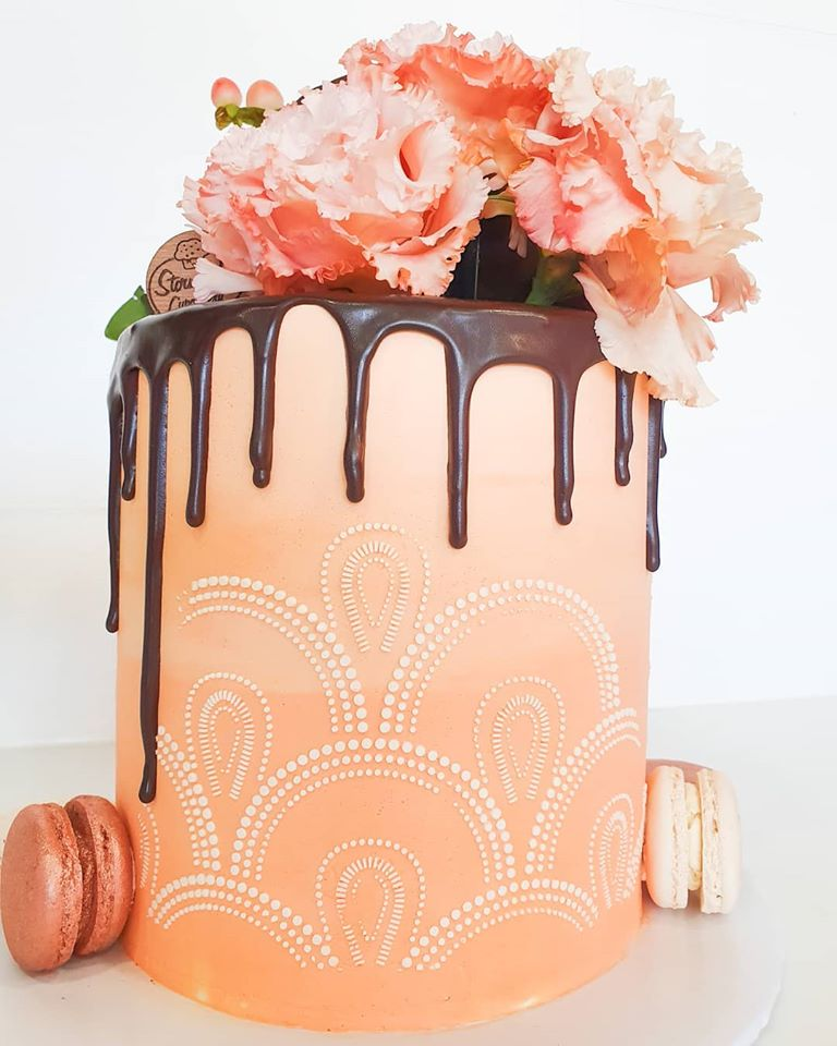 Stenciled Floral Macaron Cake (7 days Required)