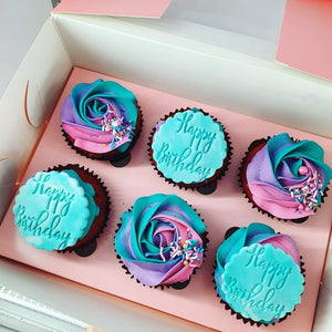 Birthday Cupcakes in a Rose Swirl (1 days notice required)
