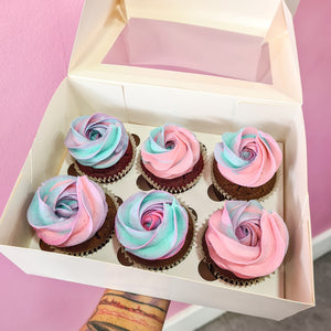 Gender Reveal rose swirl baby shower cupcakes (1 days minimum notice)