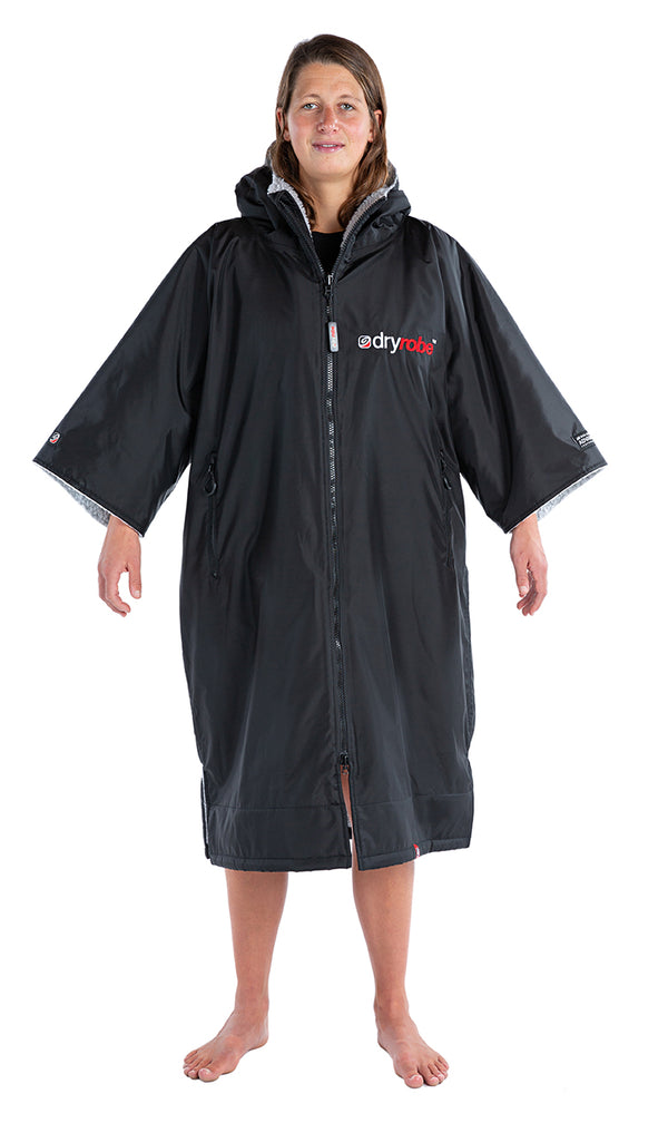 dryrobe Advance Short Sleeve Black with Grey Fleece