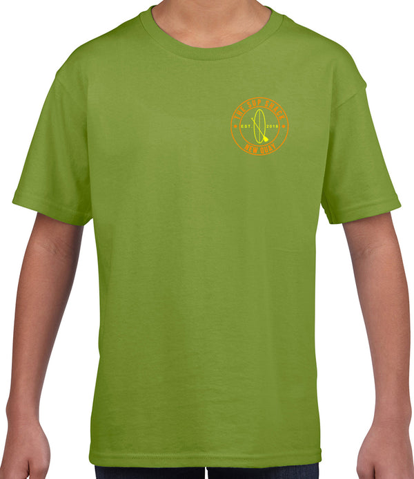 Kiwi with Flo Orange/Flo Yellow logo kids t-shirt