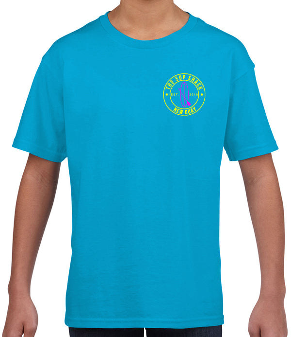 Summer Blue with Flo Yellow/Hot Pink logo kids Tshirt