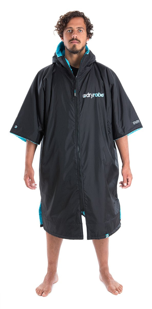 dryrobe Advance Short Sleeve Black with Blue Fleece
