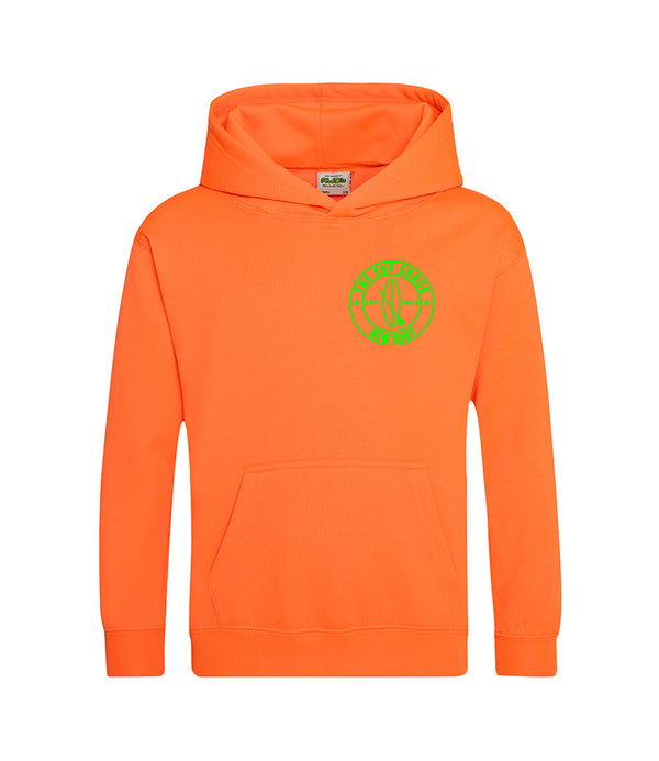 Electric orange with green logo kids hoody