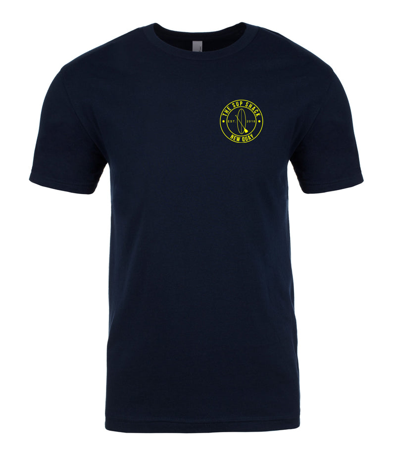 Midnight Navy with Flo Yellow logo unisex t-shirt