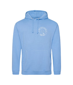 Cornflower Blue with White Logo adults hoody