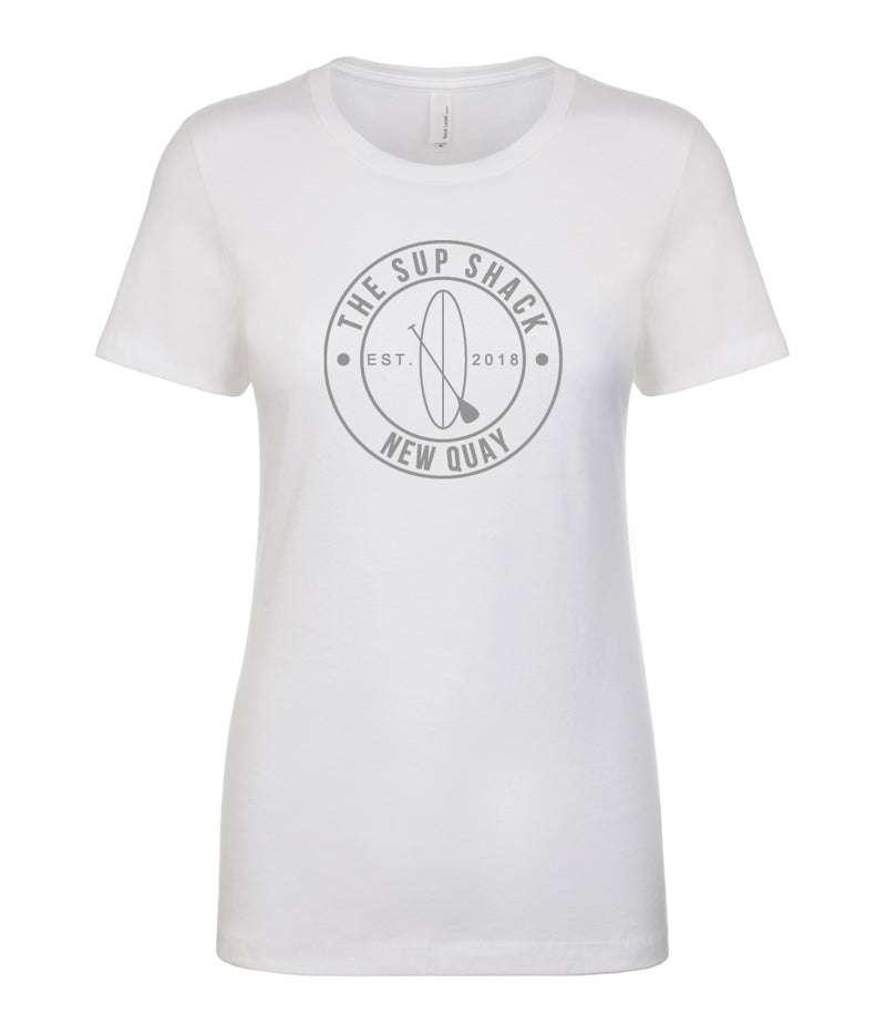 White with silver logo ladies fitted t-shirt