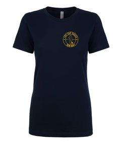 Black with Gold logo ladies fitted t-shirt