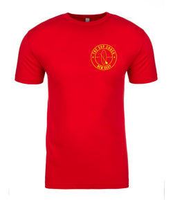 Vibrant Red with Yellow logo ladies fitted t-shirt