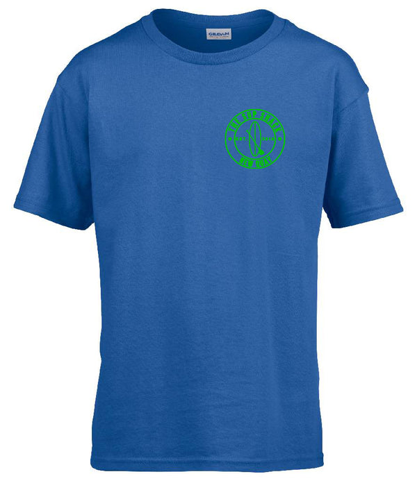 Royal Blue with Green logo kids t-shirt