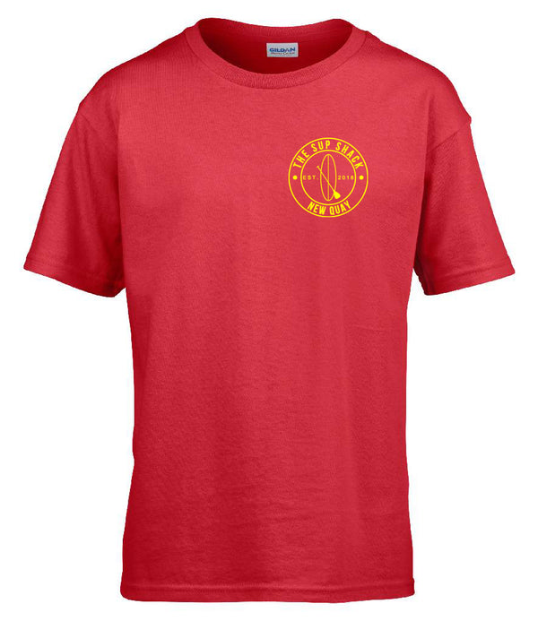 Vibrant Red with Yellow logo kids t-shirt