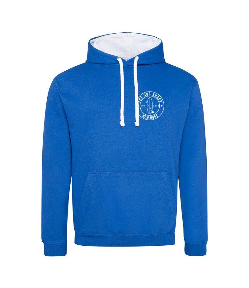 Royal Blue Arctic White with white logo adults hoody