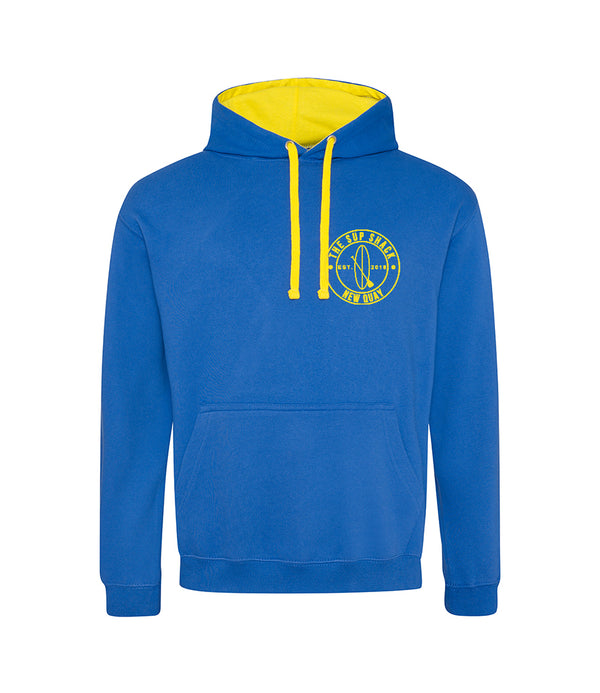 Royal Blue Sun Yellow with yellow logo adults hoody