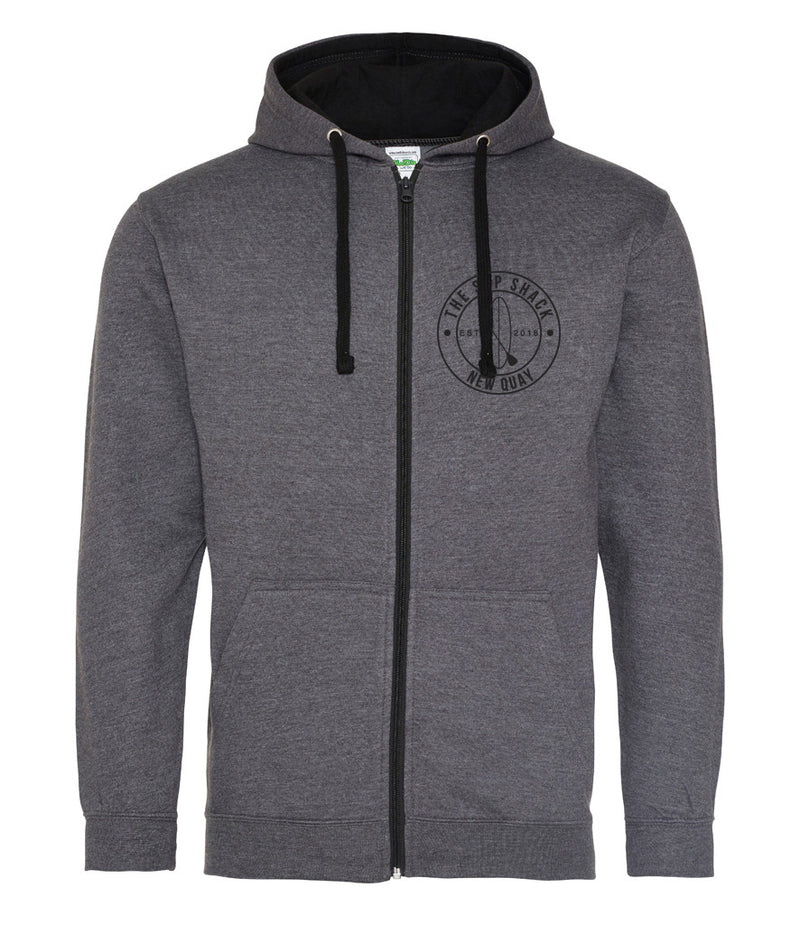 Zipped Charcoal Jet Black adults hoody