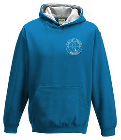 Sapphire Blue Heather Grey with silver logo kids hoody