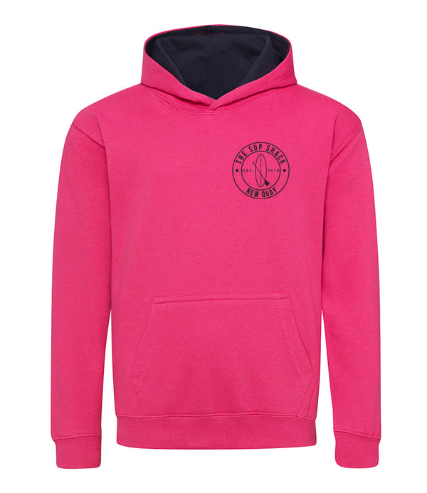 Hot Pink French Navy with navy logo kids hoody