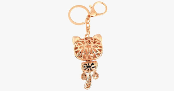 Rhinestone Cat Keychain in 18K Gold Plating