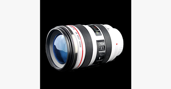 SLR Camera Lens Stainless Steel Travel Coffee Mug with Leak-Proof Lid - FREE SHIP DEALS