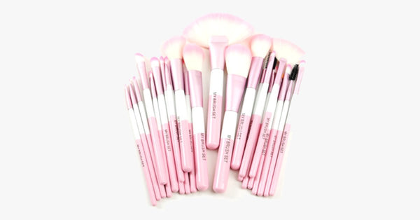 Pink Heart 24 Piece Makeup Brush Set