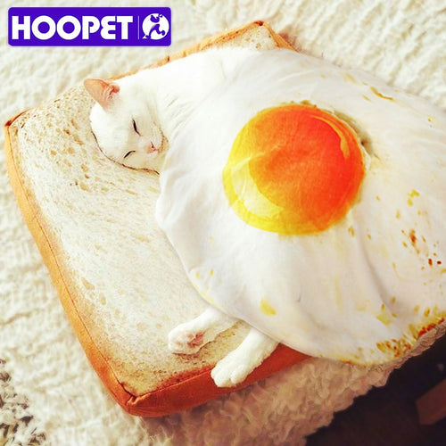 HOOPET Pet Bed for Dog Pets Cat Mat for Dogs Blanket Kennel Teddy Four Seasons Durable Soft Toast Bread and Poached Eggs Mats