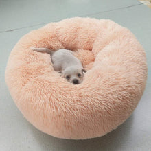 Load image into Gallery viewer, AHUAPET Round Washable Dog Bed Soft Cat House Pet Beds For Dogs House Cat Haustiere Chat Panier Long Plush Dog Chihuahua Kennel