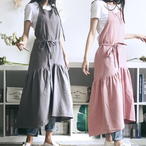 Cotton Linen Cooking Kitchen Apron